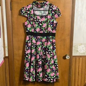 Hearts & Roses Floral Pinup Style Dress Sz10